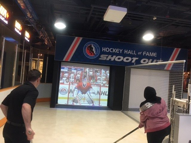 Playing hockey at the Hall of Fame