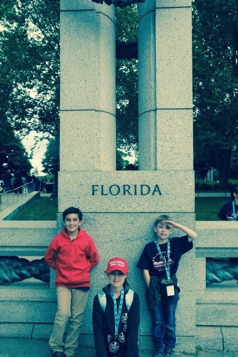 Students in Front of their Home State Column in Washington D.C